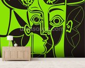 Picasso - Green mural wallpaper living room preview