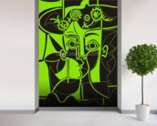Picasso - Green mural wallpaper in-room view