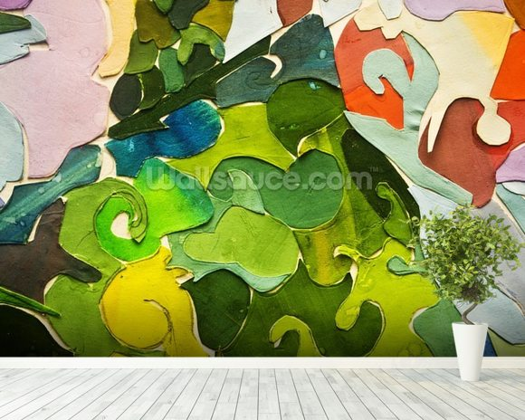 Abstract Green wallpaper mural room setting