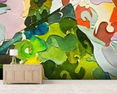 Abstract Green wallpaper mural living room preview