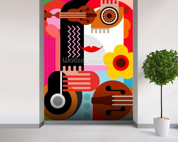Abstract Portrait wall mural room setting