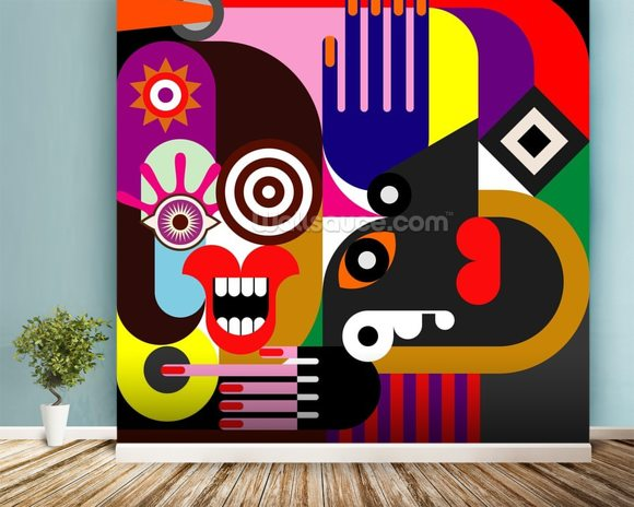 Abstract Women wallpaper mural room setting