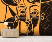 Picasso - Orange mural wallpaper living room preview