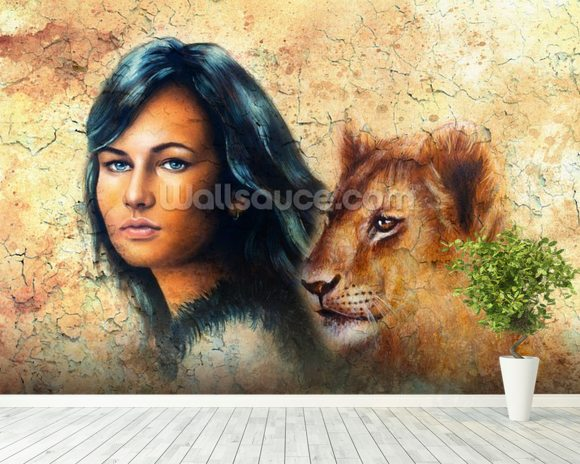 Graffiti - Woman and Lion Cub wall mural room setting