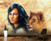 Graffiti - Woman and Lion Cub wall mural kitchen preview