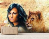 Graffiti - Woman and Lion Cub wall mural living room preview