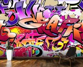 Hip Hop Purple Graffiti wallpaper mural kitchen preview