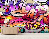 Hip Hop Purple Graffiti wallpaper mural living room preview