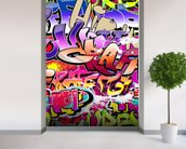 Hip Hop Purple Graffiti wallpaper mural in-room view