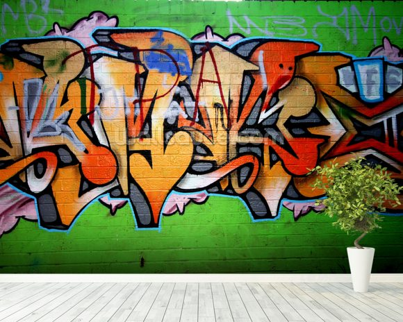 Urban Graffiti wall mural room setting