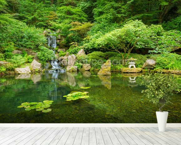 Beautiful Japanese Garden Mural Wallpaper Room Setting