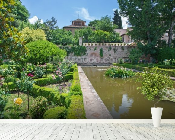 Alhambra Palace Gardens mural wallpaper room setting