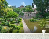 Alhambra Palace Gardens mural wallpaper in-room view