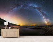 Galactic Rainbow mural wallpaper living room preview