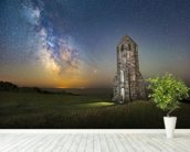 Medieval Lighthouse Next to The Milky Way wall mural in-room view