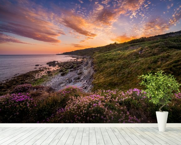 Sunset Flowers With A Lighthouse Shining In The Distance wall mural room setting