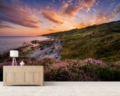Sunset Flowers With A Lighthouse Shining In The Distance wall mural living room preview