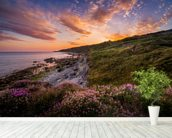 Sunset Flowers With A Lighthouse Shining In The Distance wall mural in-room view