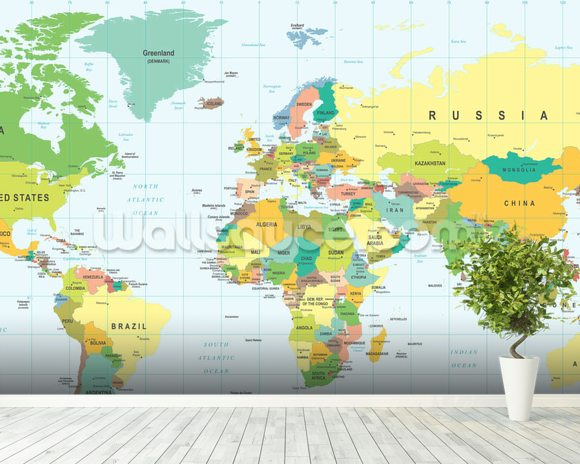 Detailed world map wallpaper wall mural wallsauce australia detailed world map wall mural room setting gumiabroncs Choice Image