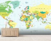 Detailed World Map wall mural living room preview
