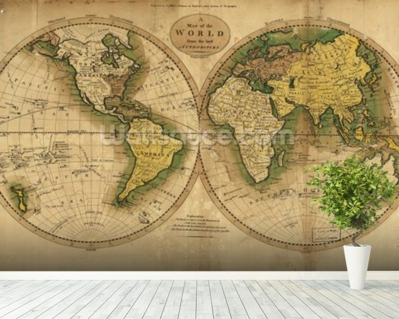 Old map of the world wallpaper wall mural wallsauce for Antique world map wallpaper mural