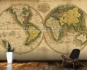Old Map of the World wallpaper mural kitchen preview