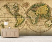 Old Map of the World wallpaper mural living room preview