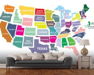 Map of the USA mural wallpaper