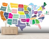 Map of the USA mural wallpaper living room preview