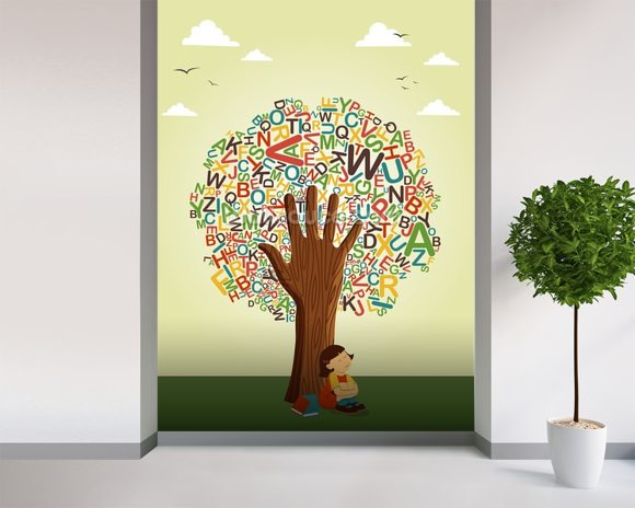 School education tree wallpaper wall mural wallsauce usa for Educational mural