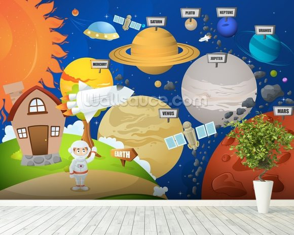 Astronaut and planet system wallpaper wall mural for Astronaut wall mural