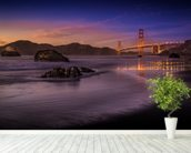 Golden Gate Bridge Fading Daylight wallpaper mural in-room view