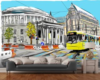 Central Manchester Library and Tram Mural Wall Murals Wallpaper