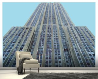 Empire State on Sky Blue Wall Mural Wall Murals Wallpaper