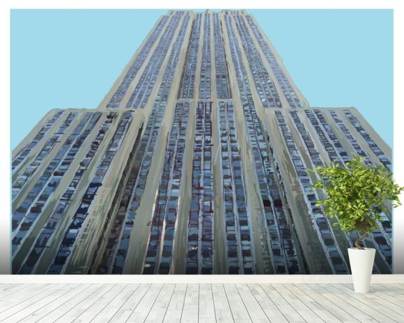 Empire State on Sky Blue mural wallpaper room setting