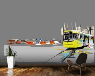 Manchester Tram Mural Wallpaper Wall Murals Wallpaper