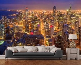 Chicago wallpaper wall murals wallsauce for Chicago skyline mural wallpaper