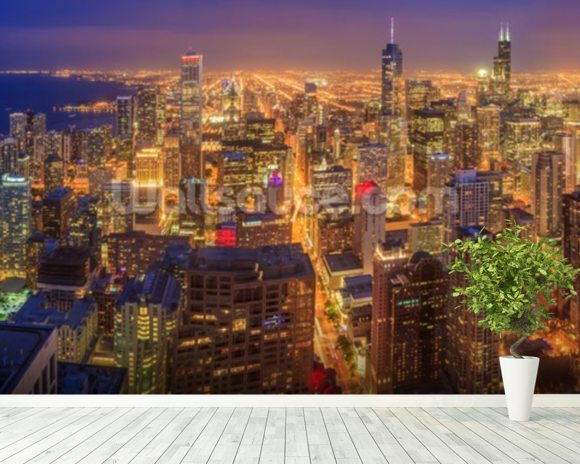 Chicago skyline at night wallpaper wall mural wallsauce usa for Chicago skyline wall mural