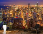 Chicago Skyline at Night wall mural kitchen preview