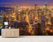 Chicago Skyline at Night wall mural living room preview