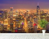 Chicago Skyline at Night wall mural in-room view