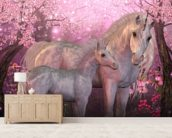 Unicorn Mare and Foal mural wallpaper living room preview