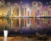 Beautiful Fireworks in Dubai Marina wallpaper mural kitchen preview