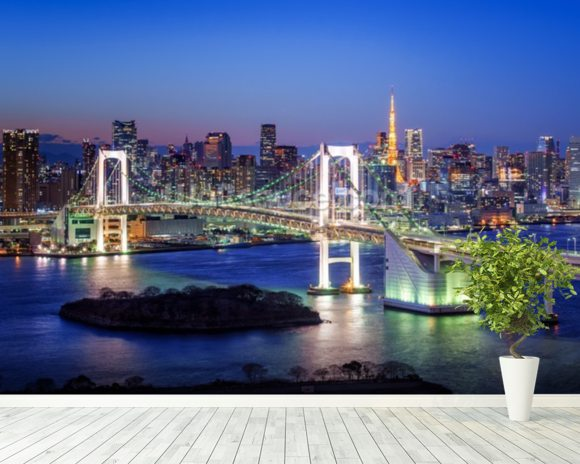 Tokyo Rainbow Bridge wallpaper mural room setting