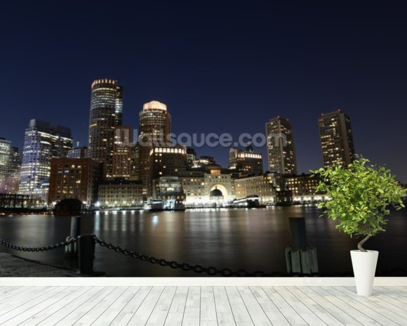 Boston Skyline wall mural room setting