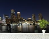 Boston Skyline wall mural in-room view