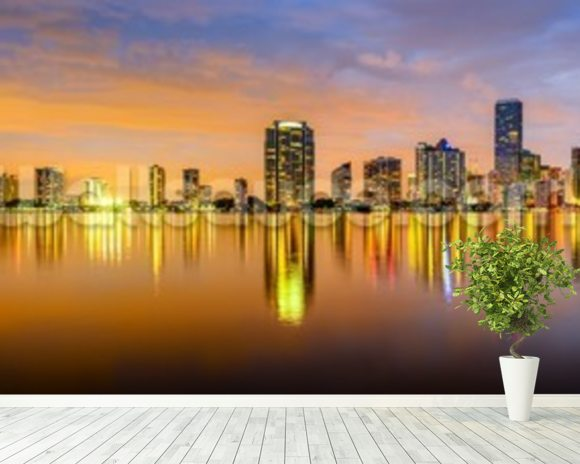 Miami Biscayne Bay Skyline wallpaper mural room setting