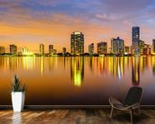 Miami Biscayne Bay Skyline wallpaper mural kitchen preview