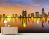 Miami Biscayne Bay Skyline wallpaper mural living room preview