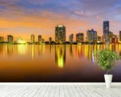 Miami Biscayne Bay Skyline wallpaper mural in-room view